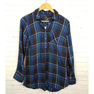 Talbots Blue Green Plaid Button Up Front NWT